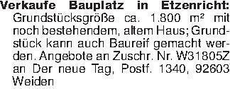 Verkaufe Bauplatz in Etzenrich...