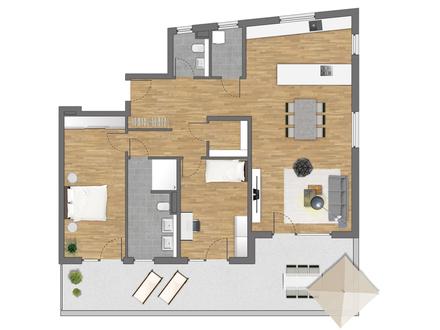 Lichtdurchflutete Penthouse-Wohnung mit traumhafter Dachterrasse