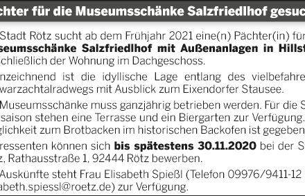 Pächter für die Museumsschänke Salzfriedlhof gesucht!