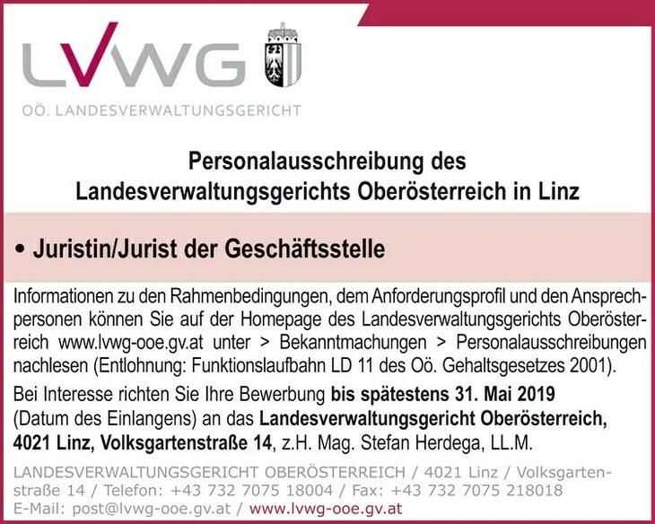 Informationen zu den Rahmenbedingungen, demAnforderungsprofil und denAnsprechpersonen können Sie auf der Homepage des Landesverwaltungsgerichts Oberösterreich www.lvwg-ooe.gv.at unter > Bekanntmachung