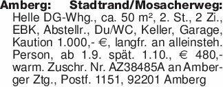 Amberg: Stadtrand/Mosacherweg:...