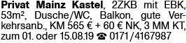2-Zimmer Mietwohnung in Mainz-Kastel (55252)