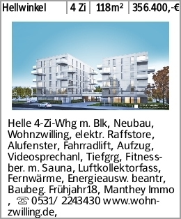 Hellwinkel 4 Zi 118m² 356.400,-€ Helle 4-Zi-Whg m. Blk, Neubau, Wohnzwilling,...