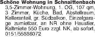 Schöne Wohnung in Schnaittenba...