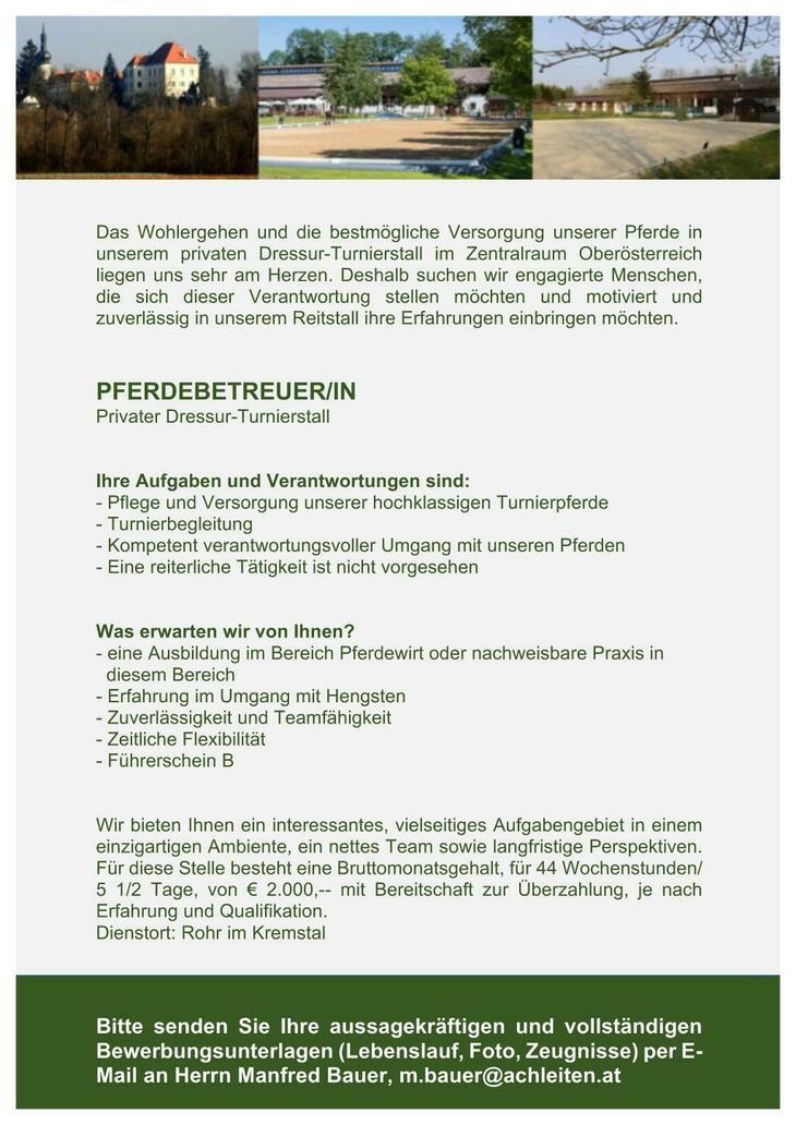 Das Wohlergehen und die benötigte Versorgung unserer Pferde in unserem privaten Dressur-Turnierstall im Zentralraum Oberösterreich liegen uns sehr am Herzen.