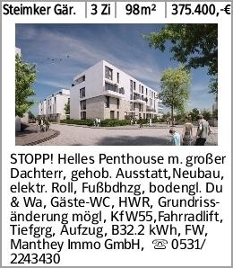 Steimker Gär. 3 Zi 98m² 375.400,-€ STOPP! Helles Penthouse m. großer Dachterr,...