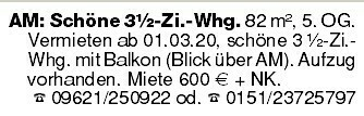 Amberg Schöne 3,5 Zi.-Whg.
