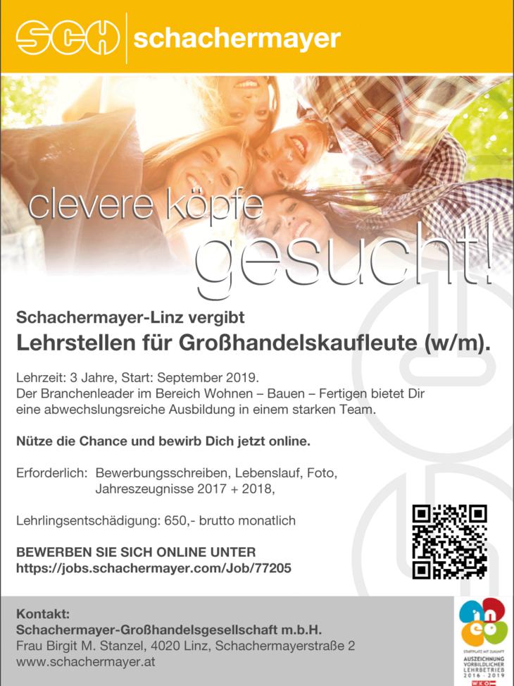Schachermayer-Linz vergibt Lehrstellen für Großhandelskaufleute (w/m).