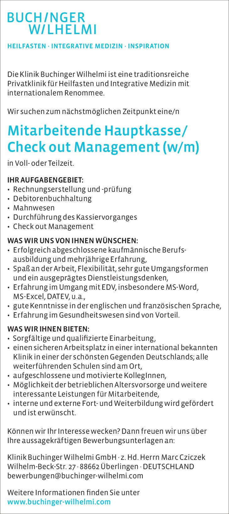 Die Klinik Buchinger Wilhelmi ist eine traditionsreiche Privatklinik für Heilfasten und Integrative Medizin mit internationalem Renommee. Wir suchen zum nächstmöglichen Zeitpunkt: Medizinisches Fach.