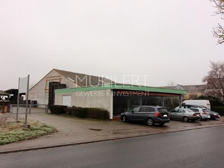 Gewerbeanwesen mit Lagerfläche, Ausstellungspavillon und großem Freigelände