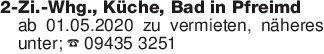 2-Zi.-Whg., Küche, Bad in Pfre...