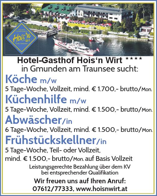 Hotel-Gasthof Hois'n Wirt  in Gmunden am Traunsee sucht ...