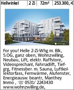 Hellwinkel 2 Zi 72m² 253.300,-€ For you! Helle 2-Zi-Whg m. Blk, 5.OG, ganz...