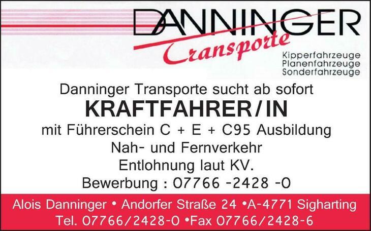 Danninger Transporte sucht ab sofort Kraftfahrer / IN mit Führerschein C + E + C95 Ausbildung Nah- und Fernverkehr
