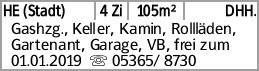 HE (Stadt) 4 Zi 105m² DHH. Gashzg., Keller, Kamin, Rollläden, Gartenant,...
