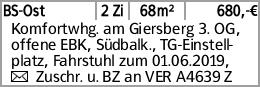 BS-Ost 2 Zi 68m² 680,-€ Komfortwhg. am Giersberg 3. OG, offene EBK, Südbalk.,...