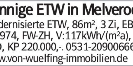 Sonnige ETW in Melverode! Modernisierte ETW, 86m², 3 Zi, EBK, Bj.1974,...