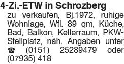 4 Zi. ETW in Schrozberg zu verkaufen