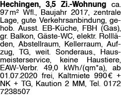Hechingen, 3,5 Zi. Wohnung
