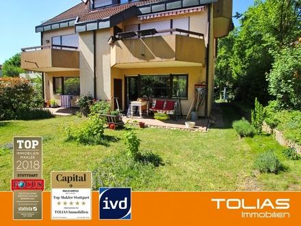 Sonnenlicht! Reizende 2-Zimmer-Hochparterrewohnung mit Garten + Terrasse in Südlage, PKW-Stellplatz