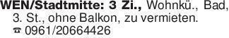 WEN/Stadtmitte: 3 Zi., Wohnkü....