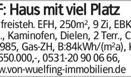 WF: Haus mit viel Platz Gr., freisteh. EFH, 250m², 9 Zi, EBK, 3 Bäd., Kaminofen,...