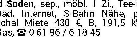Bad Soden, sep., möbl. Zi, freundl. und ruhig, S-Bahn-Nähe und Waldnähe, Internet