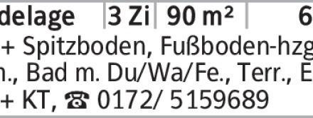 Anzeigentitel DG + Spitzboden, Fußboden-hzg., Lam., Bad m. Du/Wa/Fe., Terr.,...