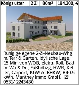 Königslutter 2 Zi 80m² 194.300,-€ Ruhig gelegene 2-Zi-Neubau-Whg m. Terr...