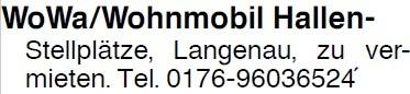 WoWa/Wohnmobil Hallen-Stellplätze