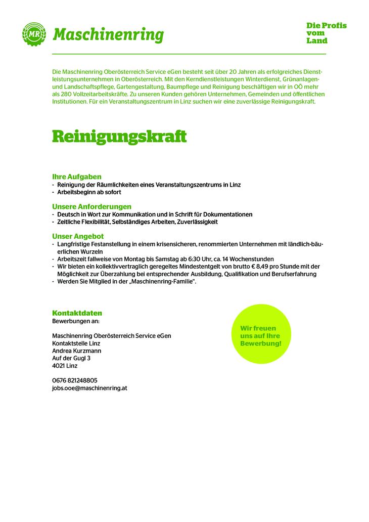 Für ein Veranstaltungszentrum in Linz suchen wir eine zuverlässige Reinigungskraft.