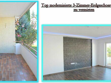 **Top modernisierte 3-Zimmer-Erdgeschosswohnung in ruhiger Lage zu vermieten**