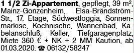 1-Zimmer Mietwohnung in Mainz-Gonsenheim (55122)