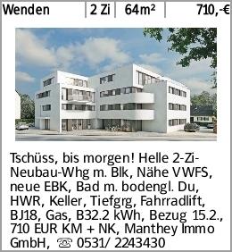 Wenden 2 Zi 64m² 710,-€ Tschüss, bis morgen! Helle 2-Zi-Neubau-Whg m. Blk,...