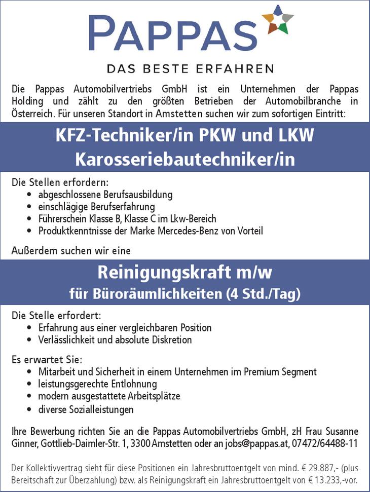 Die Pappas Automobilvertriebs GmbH ist ein Unternehmen der Pappas Holding und zählt zu den größten Betrieben der Automobilbranche in Österreich. Für unseren Standort in Amstetten suchen wir zum sofort