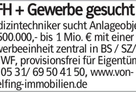 Medizintechniker sucht Anlageobjekt ab 500.000,- bis 1 Mio. € mit einer...