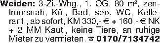 Weiden: 3-Zi.-Whg., 1. OG, 80...