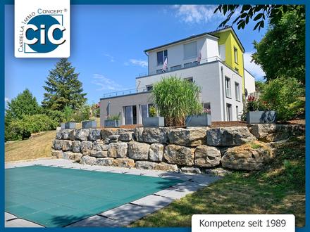 Atemberaubender Fernblick | Hochwertige Maisonette-Wohnung mit Außen-Pool