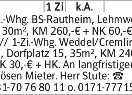 1-Zimmer Mietwohnung in Braunschweig (38100)