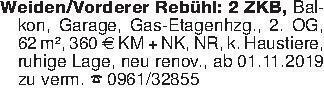 Weiden/Vorderer Rebühl: 2 ZKB,...