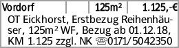 Vordorf 125m² 1.125,-€ OT Eickhorst, Erstbezug Reihenhäu-ser, 125m² WF,...