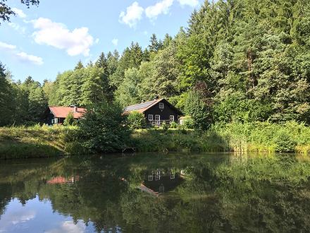 Holzblockhaus mit 4 Fischweihern und Edelkrebsbesatz