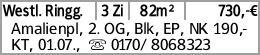 Westl. Ringg. 3 Zi 82m² 730,-€ Amalienpl, 2. OG, Blk, EP, NK 190,-KT, 01.07.,...