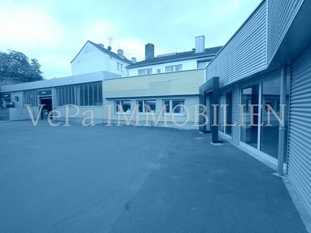 GEWERBEIMMOBILIE IN AUFFALLEND GUTER LAGE:Verkaufsfläche, Werkstatt, Lagerräume, Wohnung, Freifläche