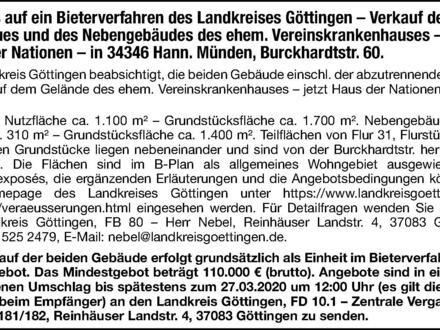 Hinweis auf ein Bieterverfahren des Landkreises Göttingen