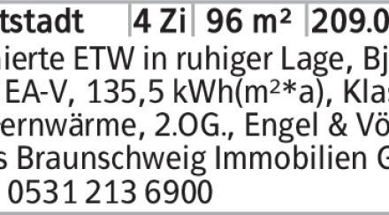 Sanierte ETW in ruhiger Lage, Bj. 72, EA-V, 135,5 kWh(m²*a), Klasse E,...