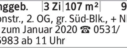 Anzeigentitel Roonstr., 2. OG, gr. Süd-Blk., + NK, frei zum Januar 2020...