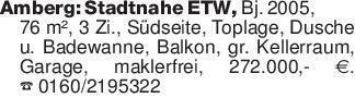 Amberg: Stadtnahe ETW, Bj. 200...