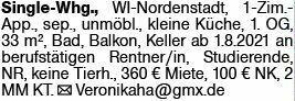1-Zimmer Mietwohnung in Wiesbaden (65205)