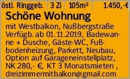 östl. Ringgeb. 3 Zi 105m² 1.450,-€ Schöne Wohnung mit Westbalkon, Nußbergstraße...
